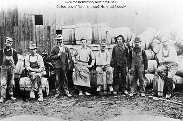 Men who worked making, Swan's Island, ca. 1900
