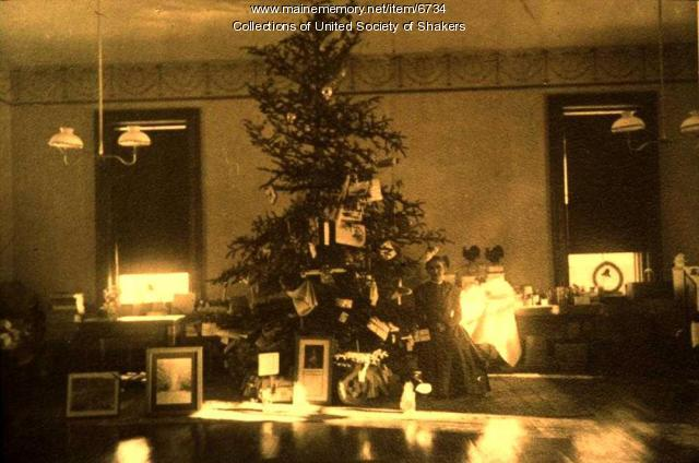 Christmas Tree and Sister Mamie Curtis, Sabbathday Lake Shaker Village, 1916