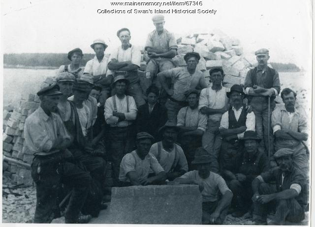 Quarry men after work, Swan's Island, ca. 1900