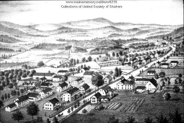 Birds'-eye view of Alfred Shaker community, 1880