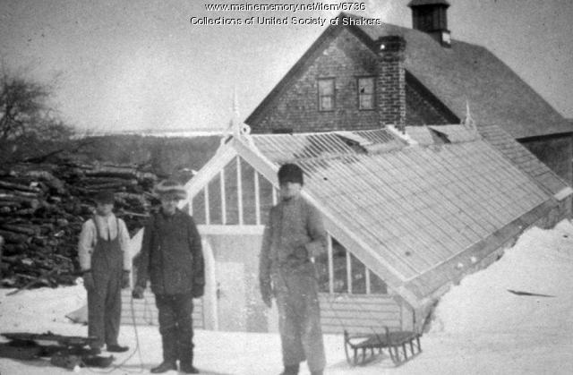 Boys Sledding, Sabbathday Lake, ca. 1900