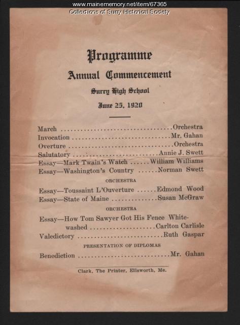 Commencement Program, Surry High School, 1920