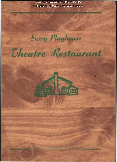 Playhouse Theatre Restaurant Menu cover, Surry, ca. 1940