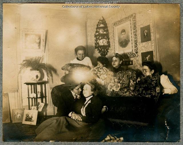 Humorous Victorian family scene, Lubec, 1898