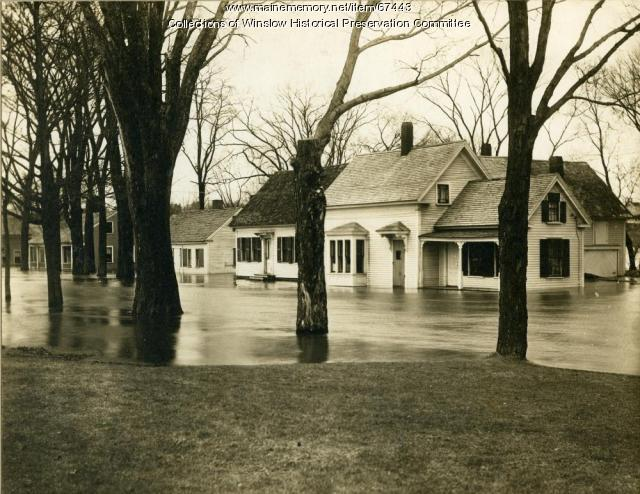 Homes flooded by the Kennebec River, Winslow, 1936
