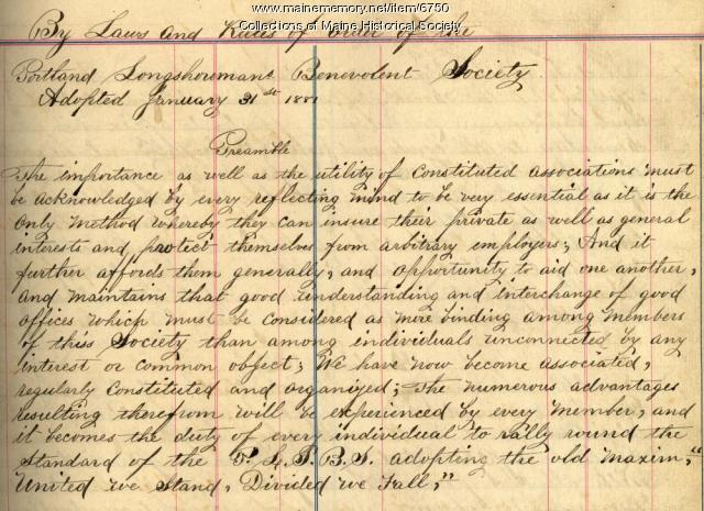Portland Longshoremans Benevolent Society bylaws, 1881