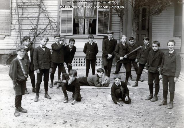 Schoolyard sports, St. Peter's School, Lewiston, 1925