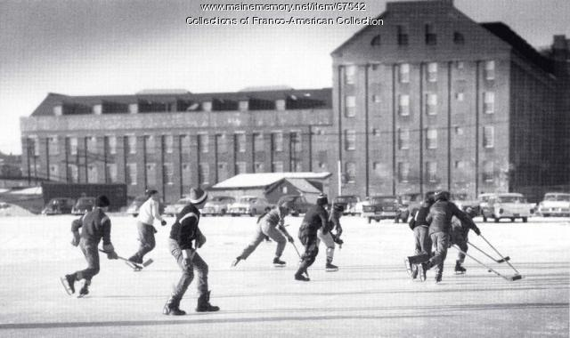 Hockey game, Hill Mill, Lewiston, ca. 1940