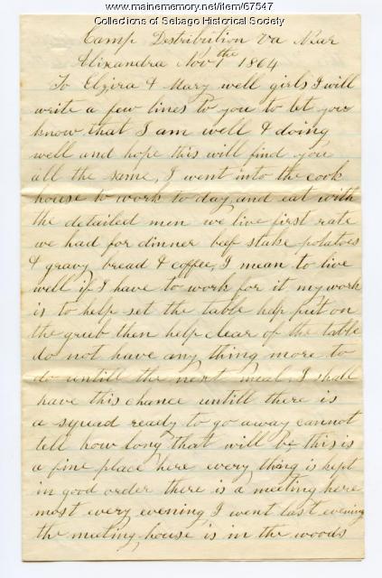 Wm. Haley Jr. to daughter and niece, Alexandria, Va., 1864