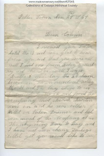 Letter from Lorenzo Gammon to his cousin in Sebago, 1864