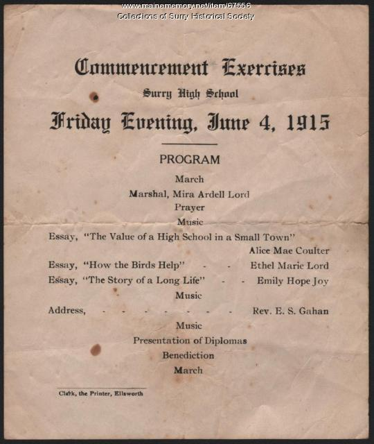 Commencement Exercises, Surry High School, 1915