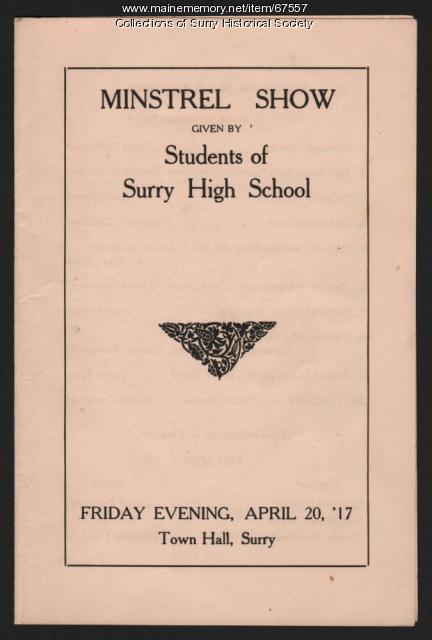 Minstrel Show program, Surry, 1917