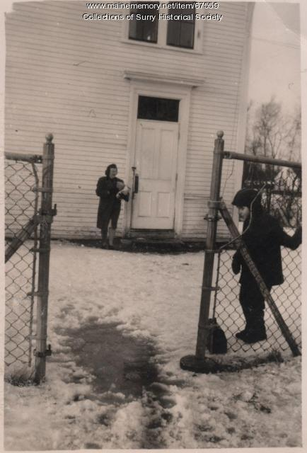 Surry Village School recess, Surry, ca. 1940