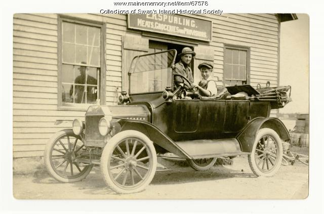 Model T. Ford by E.R. Spurling's Store, Swan's Island, ca. 1925