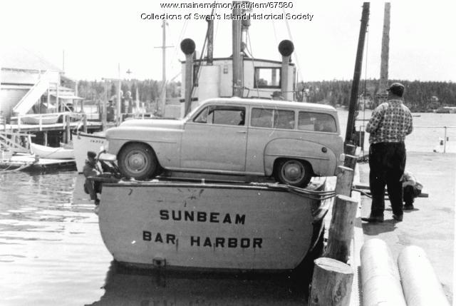"""Sunbeam"" as a car ferry, Swan's Island, ca. 1960"