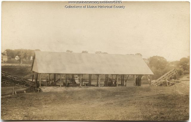Husking shed at the Jewett corn Factory, ca. 1915
