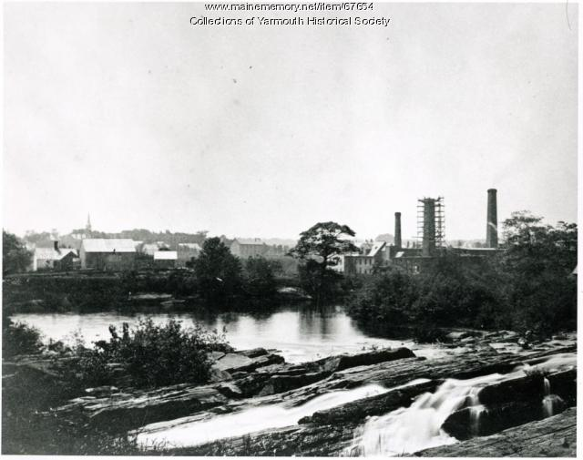 Forest Paper Company Chimney Construction, Yarmouth, ca. 1900