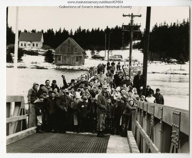 Waiting for the first ferry run, Swan's Island, 1960