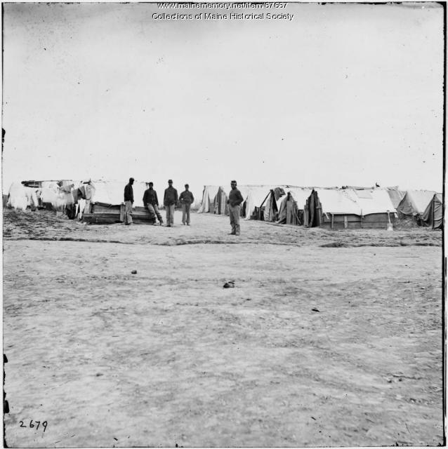 Black troops in camp, ca. 1863