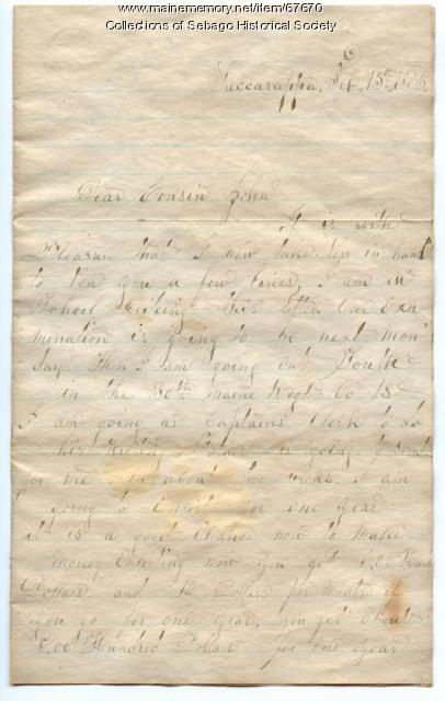 Horace Kollack to his cousin John Bickford, Sacarappa, 1865