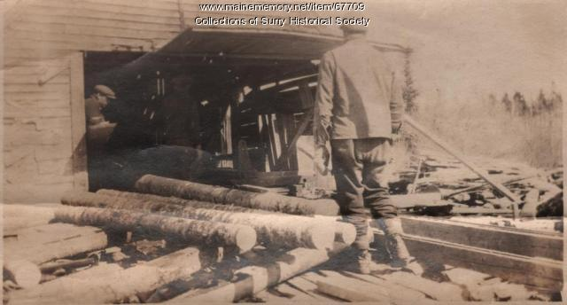 Turning logs into lumber, Surry, ca. 1903
