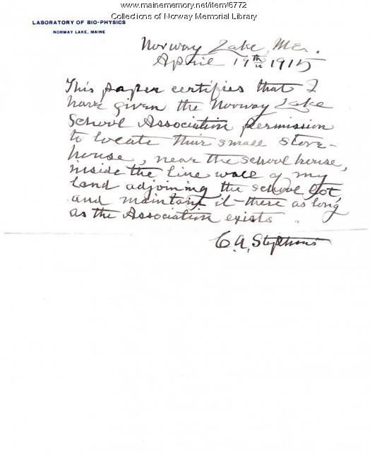 Note from C.A. Stephens 1915