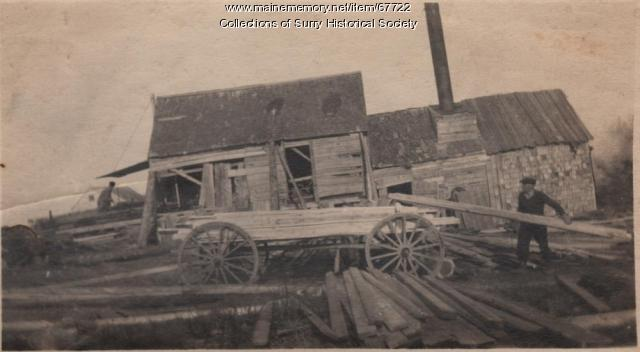 Stacking lumber for transport, Surry, ca. 1903