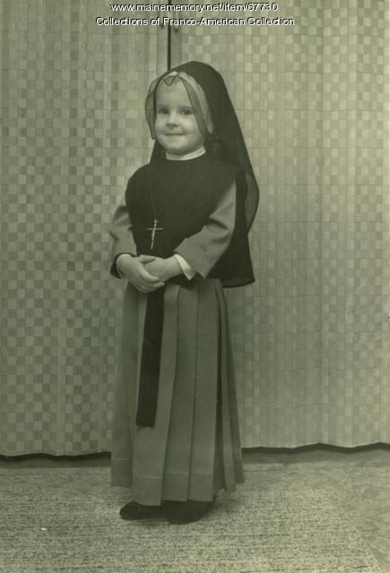 Girl in nun's habit, Lewiston, 1964