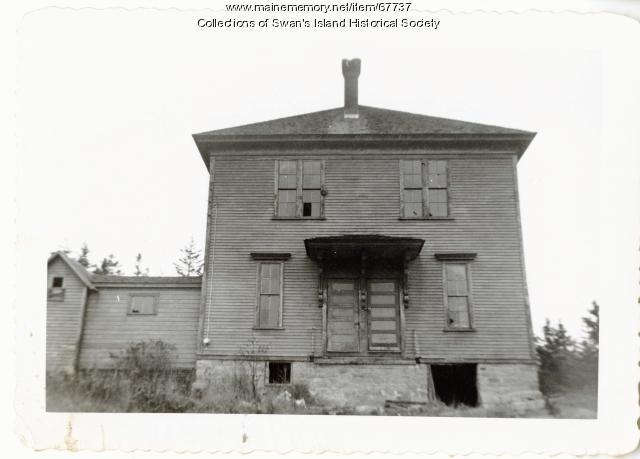 Minturn Schoolhouse in disrepair, Swan's Island, ca. 1965
