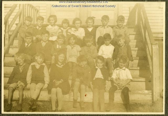 Children on the steps of the Minturn Schoolhouse, Swan's Island, ca. 1933