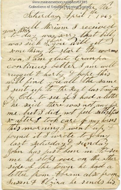 Letter from William Haley Jr, in Winchester, VA to his wife Miriam, 1865
