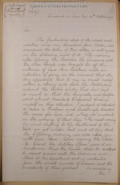 Copy of letter from Capt. Mowat to Adm. Graves, 1775