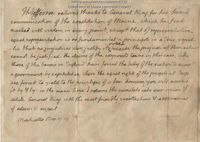 Thomas Jefferson letter to William King, 1819