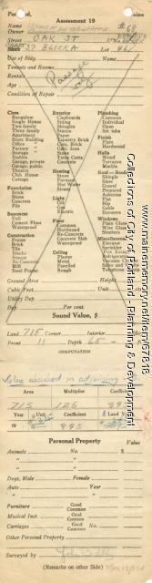 Assessor's Record, 68 Oak Street, Portland, 1924