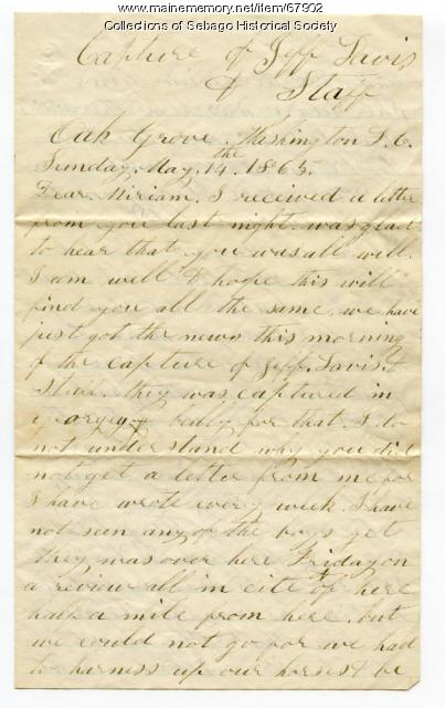 William Haley, Jr. letter to his wife, Miriam, near Washington, D.C., 1865