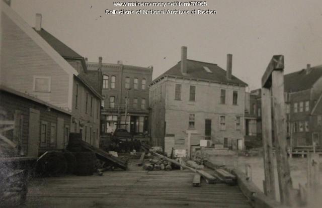 Jacobson Wharf damage, Eastport, 1945
