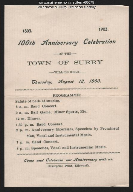 100th Anniversary Celebration Programme, Surry, 1903