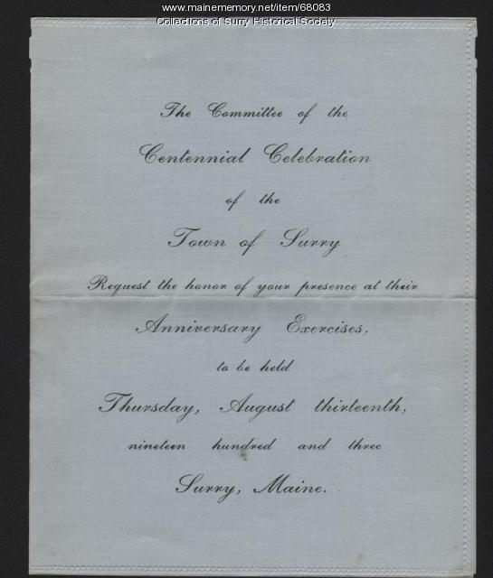 Centennial Celebration invitation, Surry, 1903