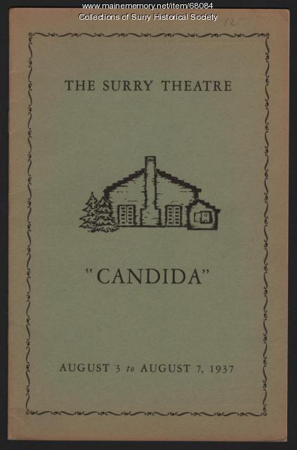 """The Surry Theatre program cover for """"Candida,"""" Surry, 1937"""