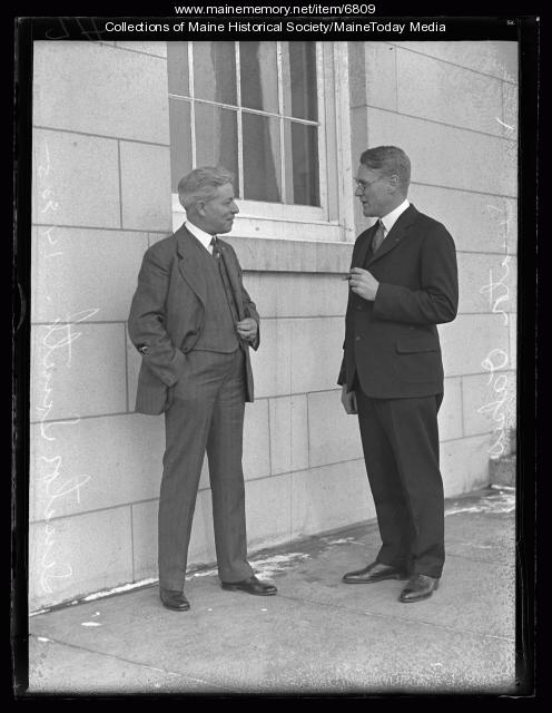 Raymond Oakes, right, and Clyde Smith in 1927. Smith was a state legislator who's wife was Margaret Chase Smith.