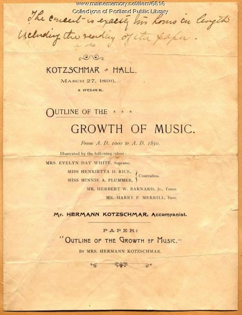 Kotzschmar Hall program, Portland, 1896