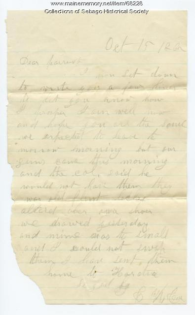Charles Cole writes to parents before leaving Portland 1862
