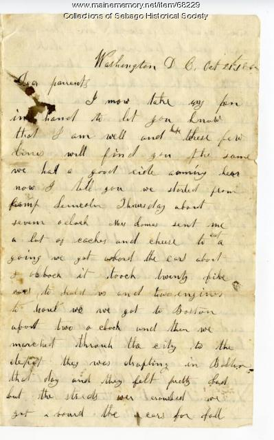 Letter on trip from Portland to Washington D. C., 1862