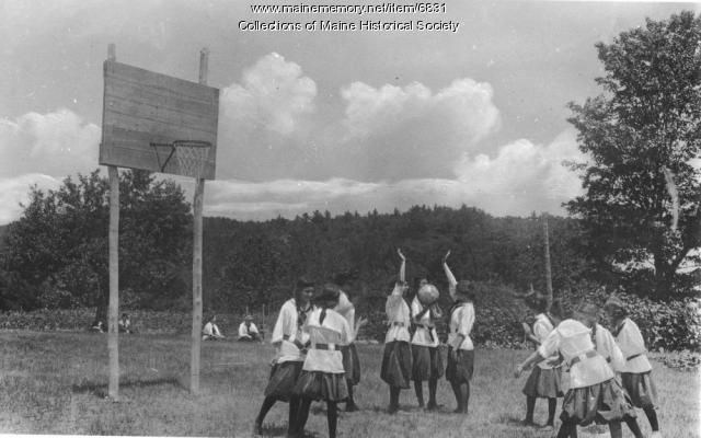 Girls playing basketball, Naples, ca. 1930