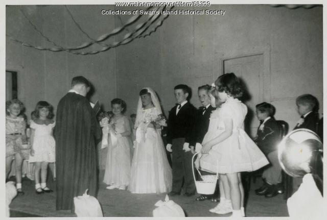 "Children acting in ""Tom Thumb's Wedding,"" Swan's Island, ca. 1950"