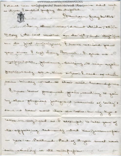 John Marshall Brown on Portland fire, 1866