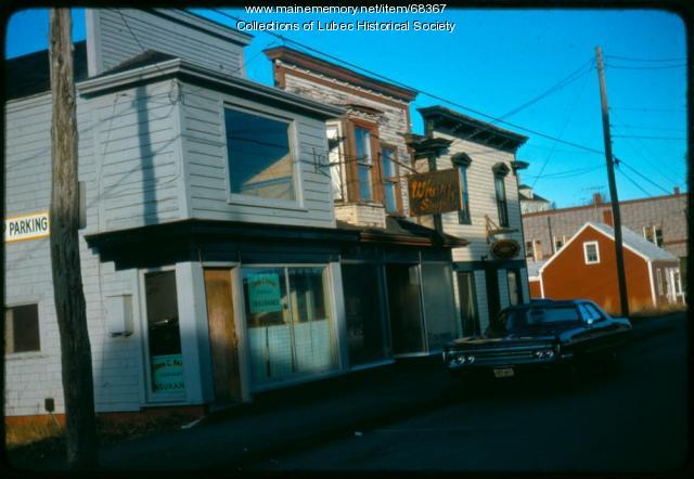 Commercial buildings on Water Street, Lubec, 1975
