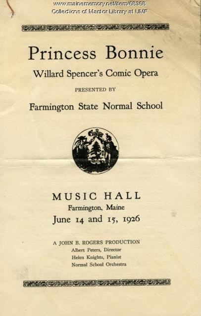 """Princess Bonnie"" theater program, Farmington State Normal School, June 1926"
