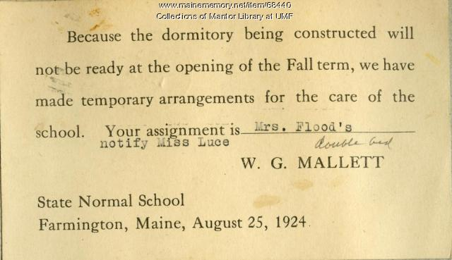 Rooming assignment, Farmington State Normal School, 1924