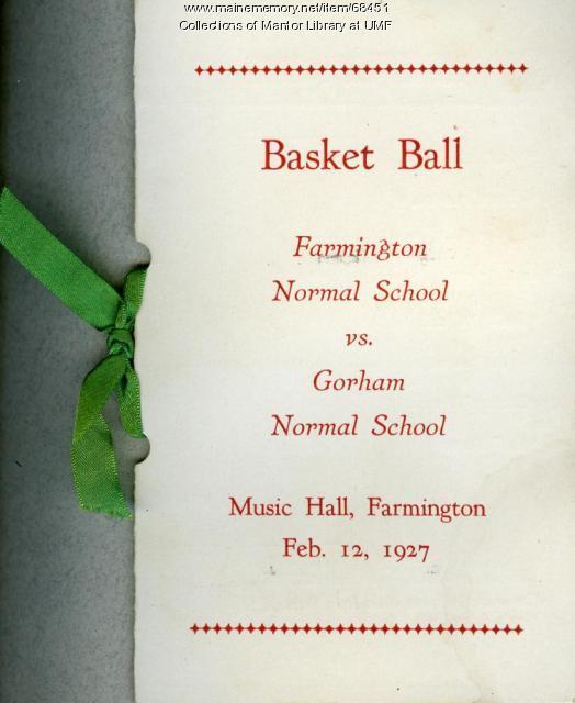 Basketball scorecard, Farmington State Normal School, 1927